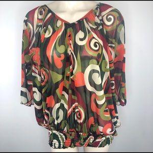ASHLEY STEWART 18/20 abstract/bold/striking blouse